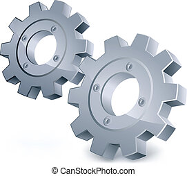 Vector gears, isolated object on white background, technical...