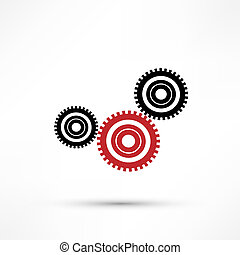 Vector gears, isolated object on white background,...