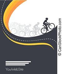 vector, gebeurtenis, poster, hardloop, ontwerp, fiets
