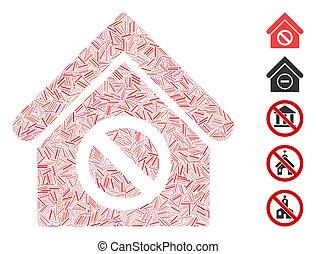 vector, gebouw, broedsel, pictogram, verboden, collage