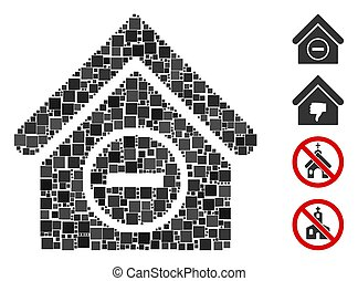 vector, gebouw, pictogram, mozaïek, verwijderen, plein