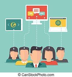 vector, gebruiker, genereren, inhoud, concept, in, plat,...