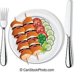 vector, gegrilde kip, groentes, op, de, schaaltje, vork, en, mes