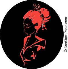 Vector Geisha Woman Illustration - Vector Black and red...
