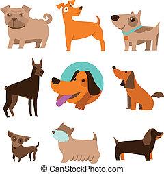 vector, gekke , set, spotprent, honden