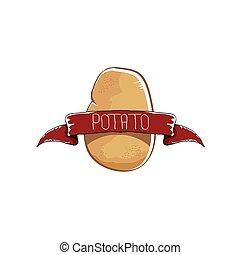 vector, gekke , spotprent, schattig, bruine , aardappel, pictogram, vrijstaand, op, bruine , achtergrond., aardappel, etiket, ontwerp, mal, voor, stickers, banieren, affiches, en, menu