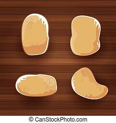 vector, gekke , spotprent, schattig, bruine , bataten, set, plat, leggen, op, wooden table, achtergrond., aardappel, etiket, ontwerp, ., hoogste mening