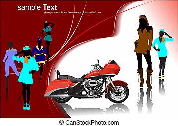 vector, gekleurde, illustratie, images., motorfiets, achtergrond