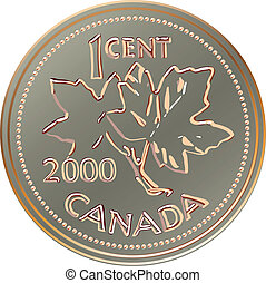 vector, geld, cent, canada