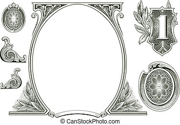 vector, geld, versieringen