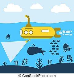 vector, gele, duikboot, zee, illustratie