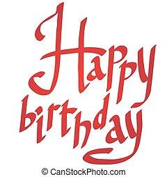 vector, gelukkige verjaardag, lettering