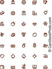 vector, geluksspelletjes, pictogram, set