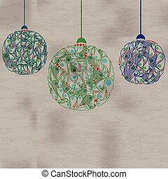 vector, gelul, illustration., papier, decorations., kerstmis, card.