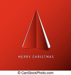 vector, gemaakt, boompje, de kaart van het document, zalige kerst, rood