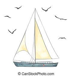 vector, gemaakt, seagulls, zeilen, scheepje