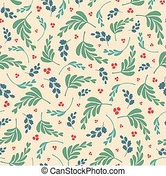 vector, gemengd, bladeren, en, besjes, herhalen, seamless, pattern.