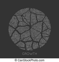Vector generative branch growth pattern. Round cracked...