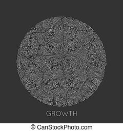 Vector generative branch growth pattern. Round texture....