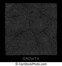 Vector generative branch growth pattern. Square texture....