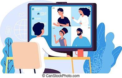 vector, gente, comunicación, en línea, toma, vídeo, grupo, conference., computadora, colleague., conferencia, concepto, pantalla