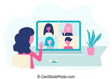 vector, gente, comunicación, en línea, vídeo, hablar, ...