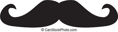 Vector curly vintage gentleman mustache isolated on white backgroung. Retro hipsters icon or symbol. Natural handlebar moustaches.