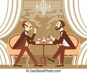 Gentlemen smoking cigares and sitting in tobacco smoke. Vector vintage gentleman's club