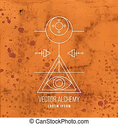 Vector geometric alchemy symbol with eye, moon, shapes and...