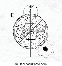 Abstract occult and mystic sign - Vector geometric alchemy ...