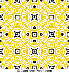 Vector geometric art deco pattern in yellow
