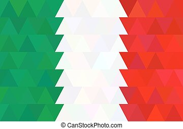 Vector geometric background in Italy flag. Triangle concept can be used in cover design, book design, website background, CD cover, advertising.