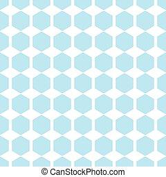 Vector geometric blue seamless patterns. Hexagon simple background
