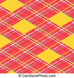 Vector geometric diamond repeating seamless pattern with solid lines and dashes and yellow diamonds. Perfect for wallpaper, scrap booking and fabric.