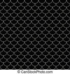 Vector geometric fish scales chinese seamless pattern. Wavy roof tile background
