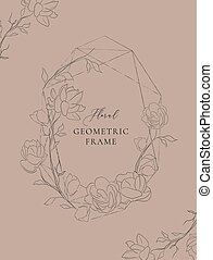 Vector geometric floral frame with Jasmine Flowers