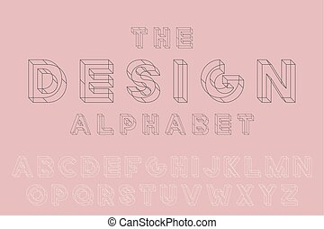 Vector geometric font. English alphabet, creative latin letters