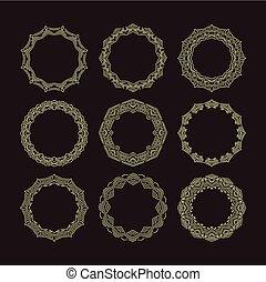 Vector geometric frame in mono line style. Monogram design...