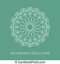 Vector Geometric Guilloche Rosette - Circular guilloche...