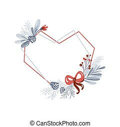 Vector geometric heart frame with bouquet wreath love. Christmas template for greeting card. Winter cones and pink flowers isolated on white background with place for text