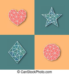 Vector geometric icons made of triangles.