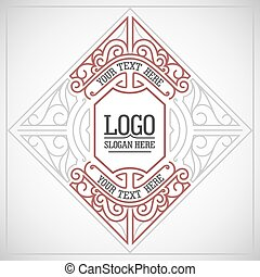 Vector geometric linear style frame - art deco border for...