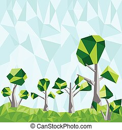 Vector geometric low poly green tree set with sky poly background