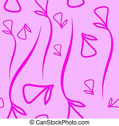 Vector geometric pattern made from plant violet elements on a pink background.