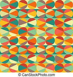 Vector geometric pattern of circles and triangles. Colored circles seamless pattern. Vintage abstract seamless pattern. Bright geometry template. Round shapes. Retro hand drawn circles ornament
