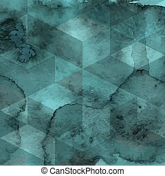 Vector Geometric Pattern on Watercolor Background