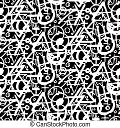 pattern with alchemy symbols - Vector geometric pattern with...