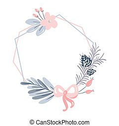 Vector geometric polygon frame with bouquet wreath. Christmas template for greeting card. Winter cones, flowers and pink ribbon isolated on white background with place for text