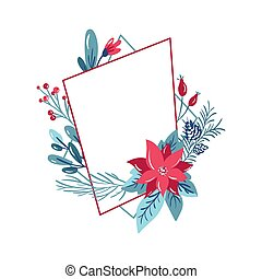 Vector geometric polygon frame with bouquet wreath. Christmas template for greeting card. Winter cones and pink flowers isolated on white background with place for text