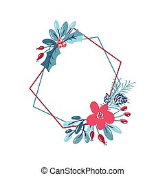 Vector geometric polygon frame with bouquet wreath. Christmas template for greeting card. Winter frame cones and pink flowers isolated on white background with place for text